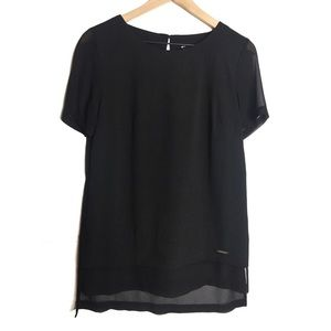 Ellen Tracy Short Sleeve Chiffon Blouse